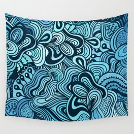 blue waves ethnic Wall Tapestry
