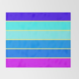 Aqua Blue Fuchsia Purple Stripes Throw Blanket