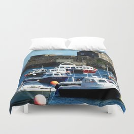 Boats in the Harbour Duvet Cover