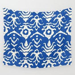 Blue Ikat Damask Print Wall Tapestry