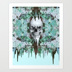 Seeing Color, melting floral skull in mint Art Print