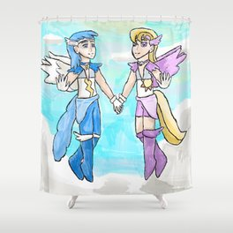 Magical Bronie Boys Lightning Bolt And Cloud Kicker Shower Curtain