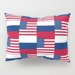 Mix of flag: Usa and russia Pillow Sham