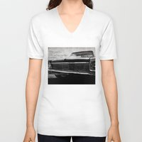 kerouac V-neck T-shirts featuring Shiny Car in the Night by Bella Blue Photography