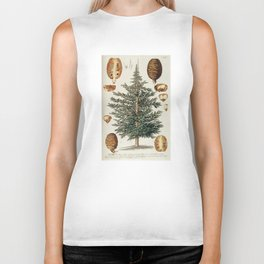 Vintage Cedar Tree illustration Biker Tank