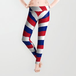 UK British Union Jack Red White and Blue Zebra Stripes Leggings