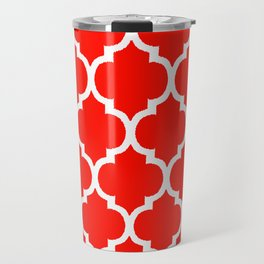 MOROCCAN RED AND WHITE PATTERN Travel Mug