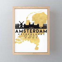 AMSTERDAM NETHERLANDS SILHOUETTE SKYLINE MAP ART Framed Mini Art Print