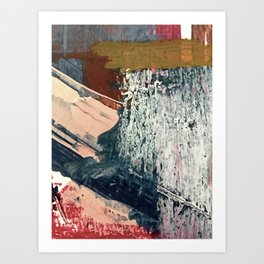 Kelly [2]: a bold, textured, abstract mixed media piece in fall colors/ blue, burnt sienna, ochre Art Print