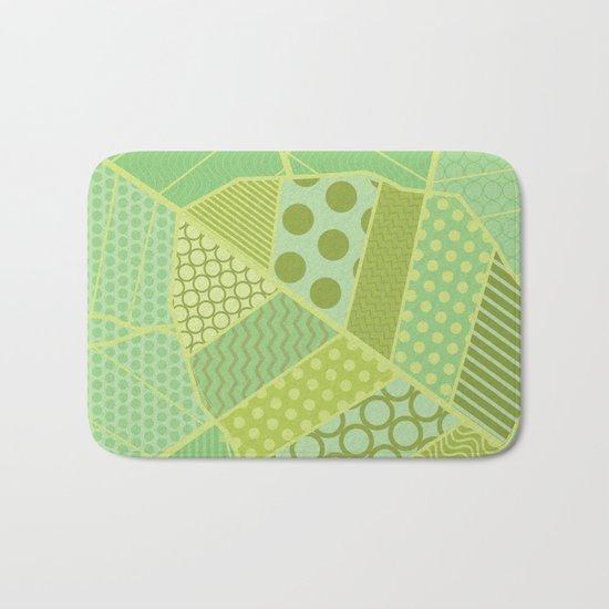 The Unique One (Green Patterned Leaf Patchwork) Bath Mat