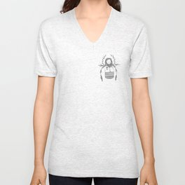 Wildwood Winter Girl Portrait Pen and Ink Unisex V-Neck