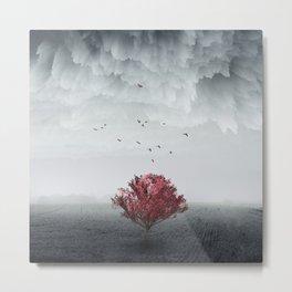 red tree in a field Metal Print
