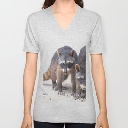 Cute wild Racoons in Costa Rica Unisex V-Neck