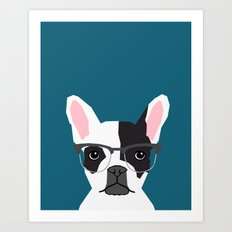 Hadley  - French Bulldog wearing hipster glasses perfect for dog lovers and owners, dog people Art Print