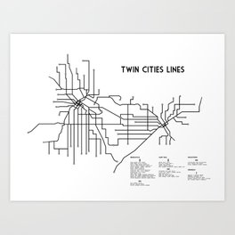 Twin Cities Lines Map Art Print