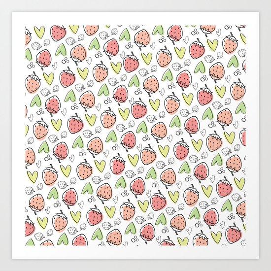 Pattern: Strawberries & Hearts Art Print