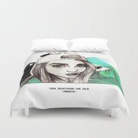 cara delevingne Duvet Covers featuring CARA DELEVINGNE: THE FACE by Ismael Aguilar Bonet