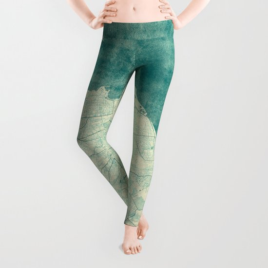 Edinburgh Map Blue Vintage Leggings