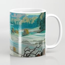 'River Scene at Day Break' desert canyon landscape painting by J.H. Pierneef Coffee Mug