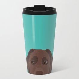 Chocolate Lab peeking dog head labrador retriever must have funny dog breed gifts Travel Mug