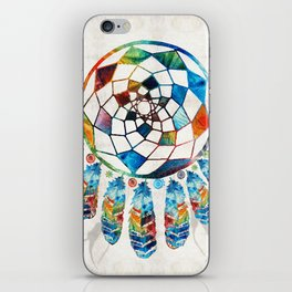 Native American Colorful Dream Catcher by Sharon Cummings iPhone Skin