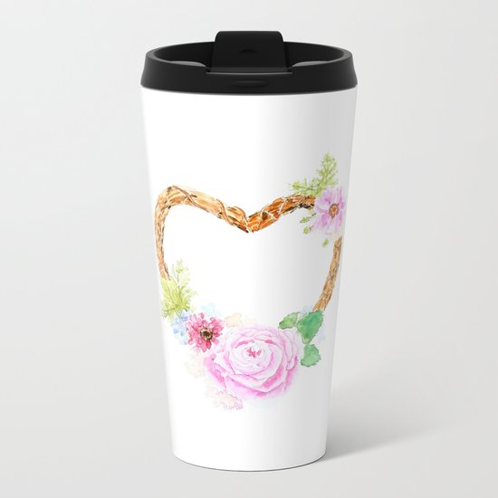 flower heart pink rose and daisy watercolor Metal Travel Mug
