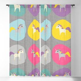 Cute Unicorn polka dots grey pastel colors and linen texture #homedecor #apparel #stationary #kids Blackout Curtain