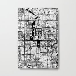 Beijing city map black and white Metal Print