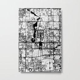 Beijing city map black and white Metal Print