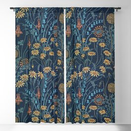 Dolce Donum Blue Floral by Walter Crane Blackout Curtain