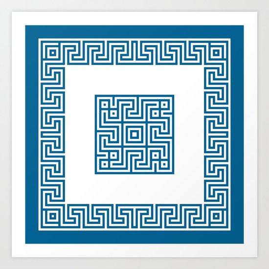 Greek Key blue Art Print