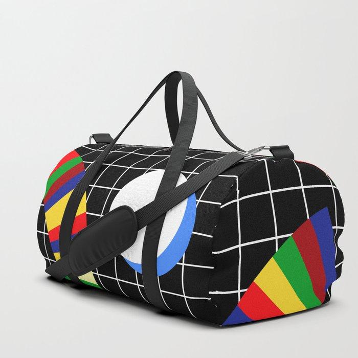 Memphis Grid & Rainbows Duffle Bag