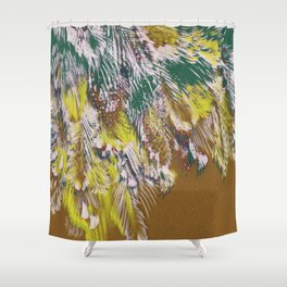 feather texture in yellow and green Shower Curtain