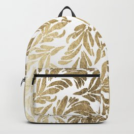 Elegant white chic faux gold foil floral damask pattern Backpack