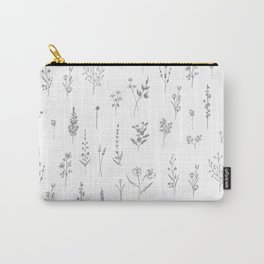 Wildflowers - Grey Flowers Carry-All Pouch