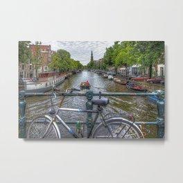 Amsterdam Bridge Canal View Metal Print