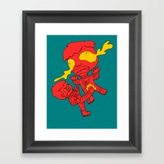 Astronaut getting kicked because the world needs this -- funny cartoon drawing in red and yellow Framed Art Print