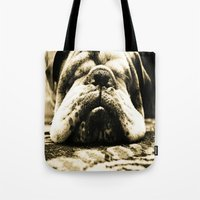 bulldog Tote Bags featuring Bulldog by Urlaub Photography