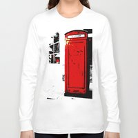 telephone Long Sleeve T-shirts featuring telephone box by Lued