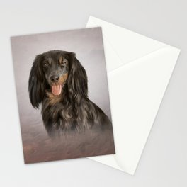 Drawing Dog breed long haired dachshund Stationery Cards