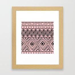 African Mud Cloth // Pink Framed Art Print