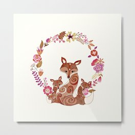 FOX & FLOWERS Metal Print