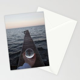 Pier Reflection in Glass Ball Stationery Cards