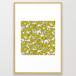 origami animal ditsy chartreuse Framed Art Print