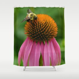 Coneflower with Bee Shower Curtain