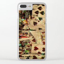 Abstract Vintage Playing cards  Digital Art Clear iPhone Case