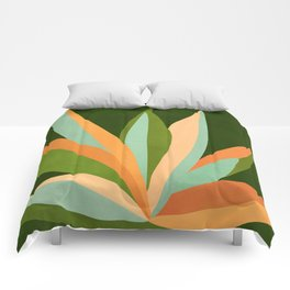 Colorful Agave / Painted Cactus Illustration Comforters