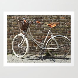 Bruges Bicycle on Cobblestone Street Art Print