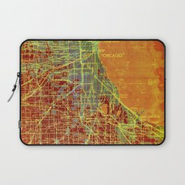 10-Chicago Illinois 1947, old map, orange and red Laptop Sleeve