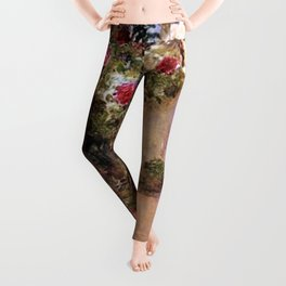 Classical Masterpiece 'The Rose Garden and Red Poppies' by Frederick Childe Hassam Leggings
